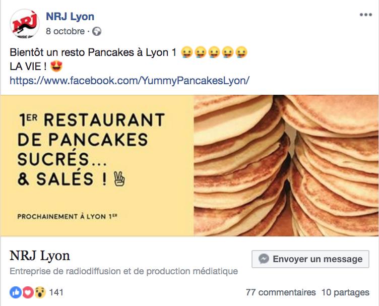 Publication Yummy Pancakes NRJ sur Facebook